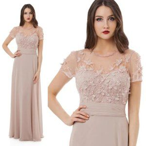 New Anthropologie x BHLDN Nude Chiffon Beaded Gown